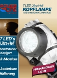 Power-line Ultra Hell 7LED Kopflampe Stirnlampe