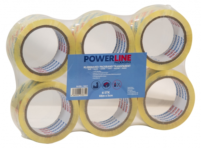 Power-Line leise abrollend Klebeband Transparent  48µ 66m